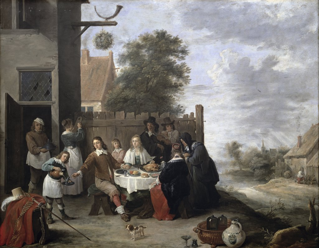 Stock Photo: 1158-2575 A Family Meal 17th Century Jan Steen (1626-1679 Dutch) Oil On Canvas Musee du Louvre, Paris, France