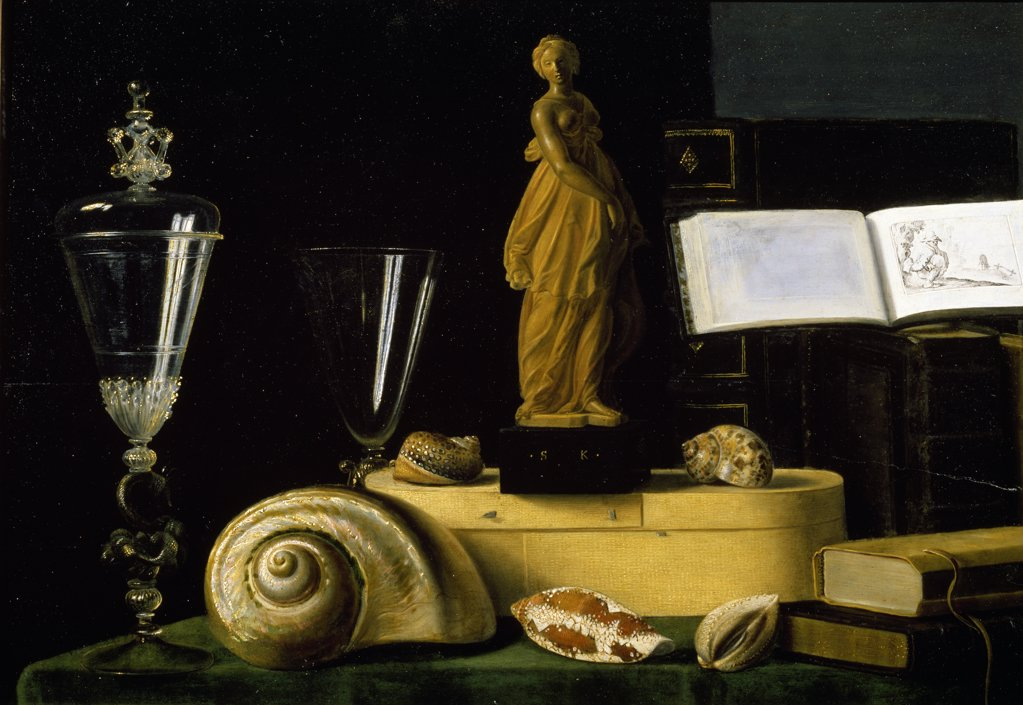 Still Life With Statuette and Shells by Sebastian Stosskopf, 1597-1657, France, Paris, Musee du Louvre : Stock Photo