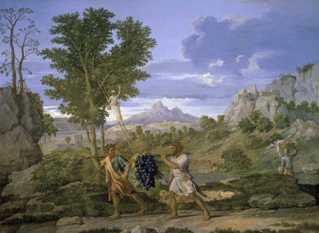 Autumn or the Grapes from the Promised Land by Nicolas Poussin, circa 1660, 1594-1665, France, Paris, Musee du Louvre : Stock Photo