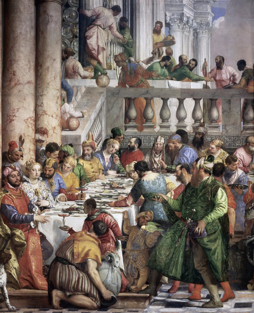 The Marriage At Cana (detail) Paolo Veronese (1528-1588 Italian) Oil On Canvas Musee du Louvre, Paris, France : Stock Photo
