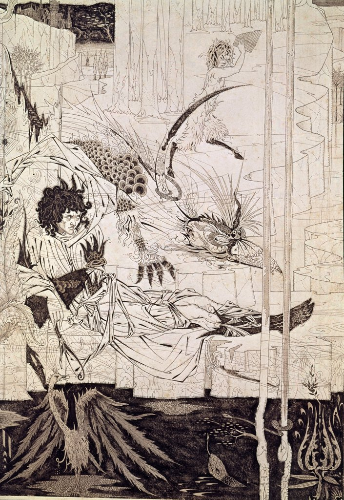 Comme Le Roi Arthur Vit La Bete by Aubrey Vincent Beardsley, (1871-1958) : Stock Photo