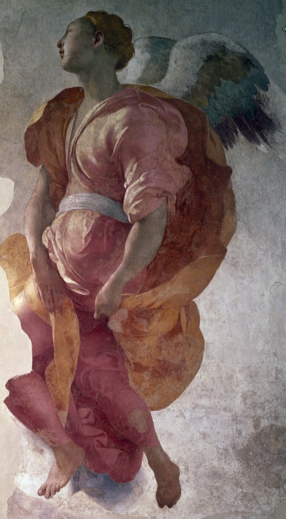 Stock Photo: 1158-2598 Angel of the Annunciation by Jacopo Pontormo,  1527,  (1494-1557 )