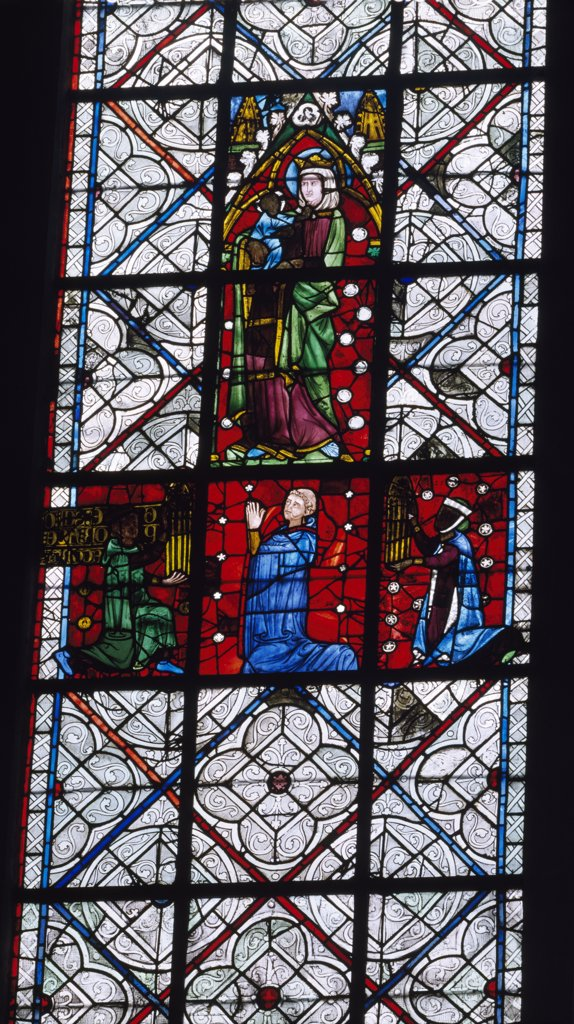 France, Upper Normandy, Rouen, Rouen Cathedral, The Virgin, stained glass : Stock Photo