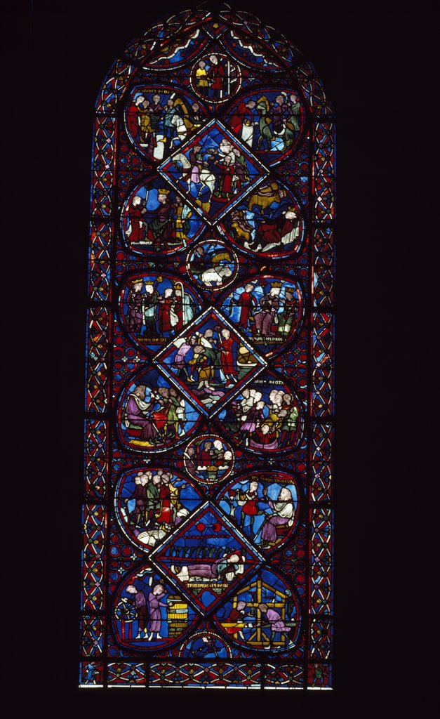 France, Centre, Bourges, Cathedral of Bourges, Story of Saint Joseph, stained glass : Stock Photo