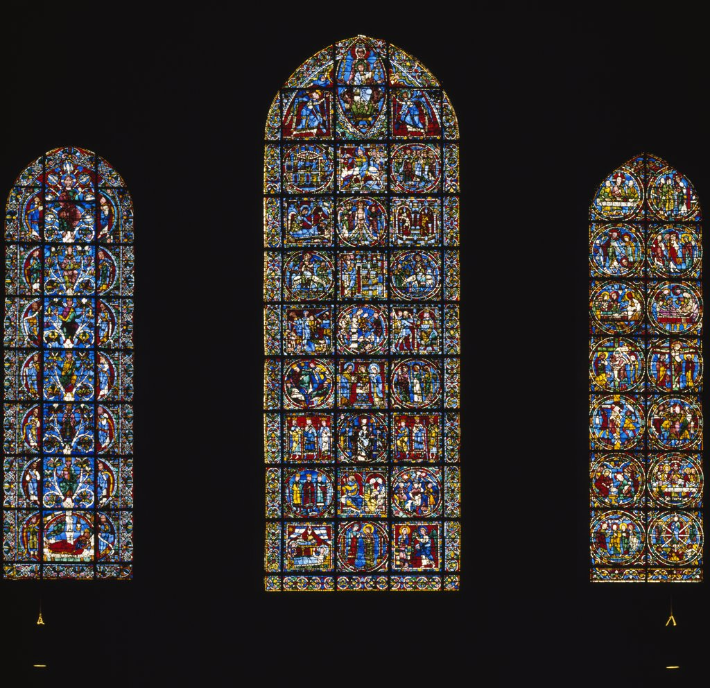 Stock Photo: 1158-2615 France, Centre, Chartres, Chartres Cathedral, New Testament Series, stained glass