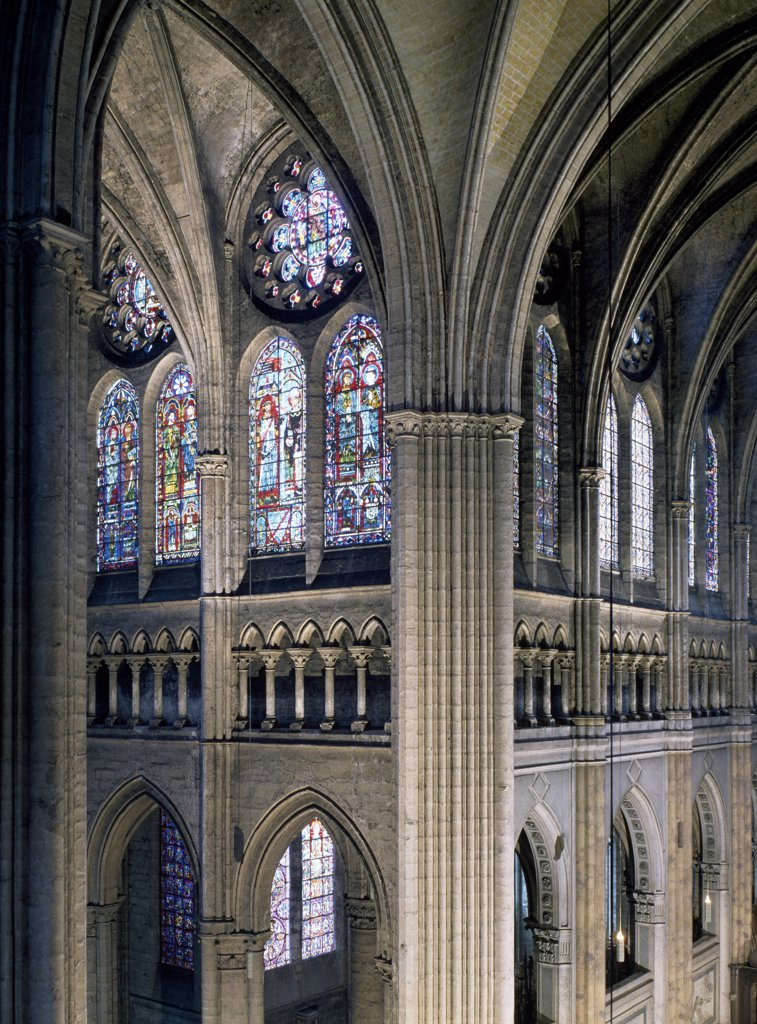 Crossing of Transept, Interiors, France, Chartres, Chartres Cathedral : Stock Photo