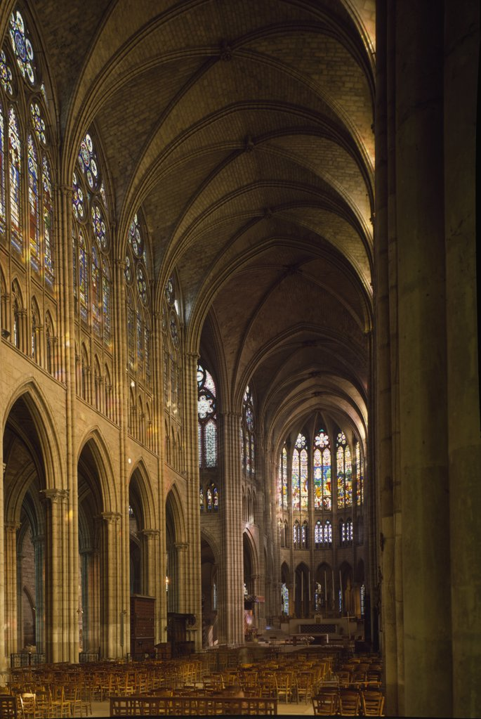 View of Choir, Interiors, France, Paris, Church of St. Denis : Stock Photo