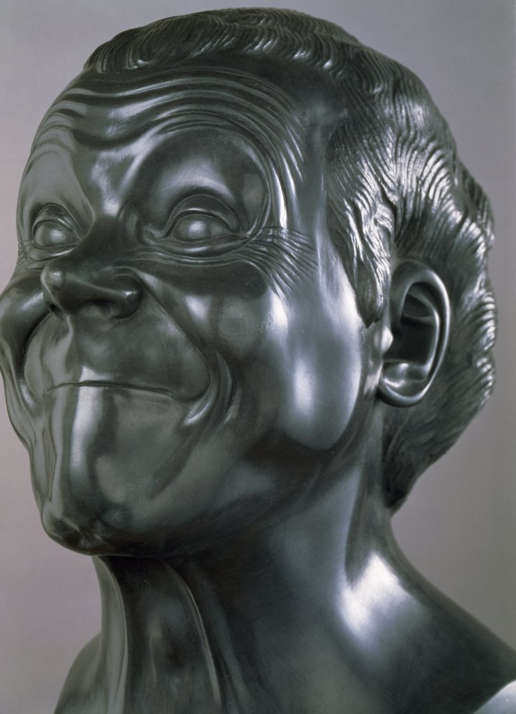 Stock Photo: 1158-2630 Slovakia, Bratislava, Galerie Nationale Slovaque, Heads of Characters: Satirical Person by Franz Xaver Messerschmidt, (1736-1783)