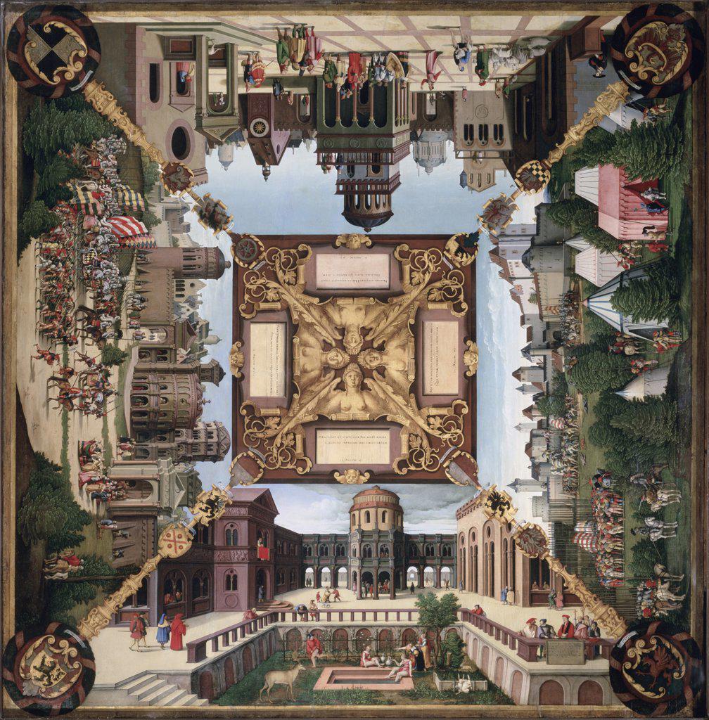 Stock Photo: 1158-2639 Story Of David 1534 Hans Sebald Beham (1500-1550 German) Oil On Wood Musee du Louvre, Paris, France