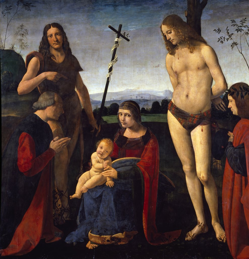 Stock Photo: 1158-2640 The Virgin and Child with Saints John The Baptist and Sebastian Between Two Donors by Giovanni Antonio Boltraffio,  (1467-1516),  Paris,  Musee du Louvre
