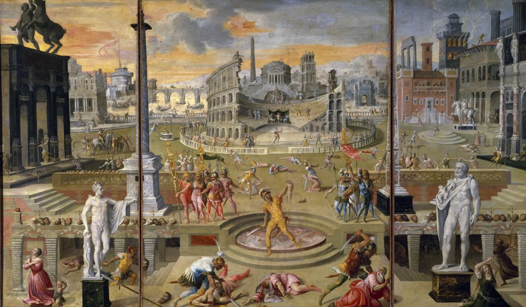 Stock Photo: 1158-2641 The Massacre of the Triumvirate by Antoine Caron,  (1520-1598),  Paris,  Musee du Louvre