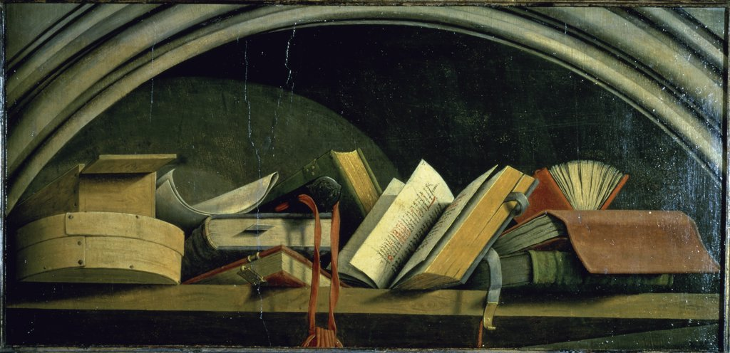 Still Life: Shelf with Books Master of The Aix Annunciation 15th C.- French  : Stock Photo