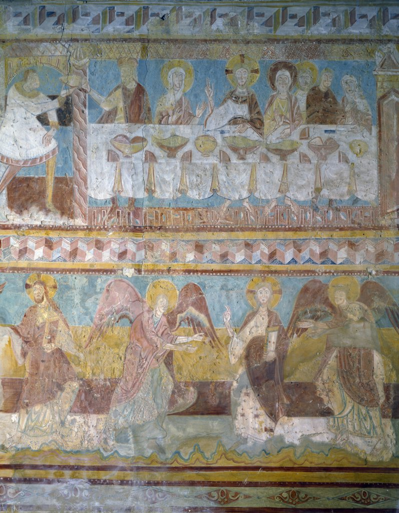 Stock Photo: 1158-2651 Brinay-Sur-Cher,  St. Aignan Church,  Wedding at Cana by Artist Unknown,  fresco