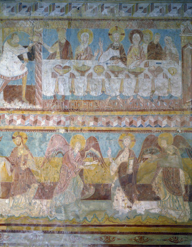 Brinay-Sur-Cher,  St. Aignan Church,  Wedding at Cana by Artist Unknown,  fresco : Stock Photo