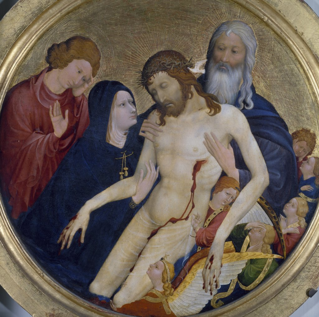 Pieta Tondo by Jean Malouel,  Paris,  Musee du Louvre : Stock Photo