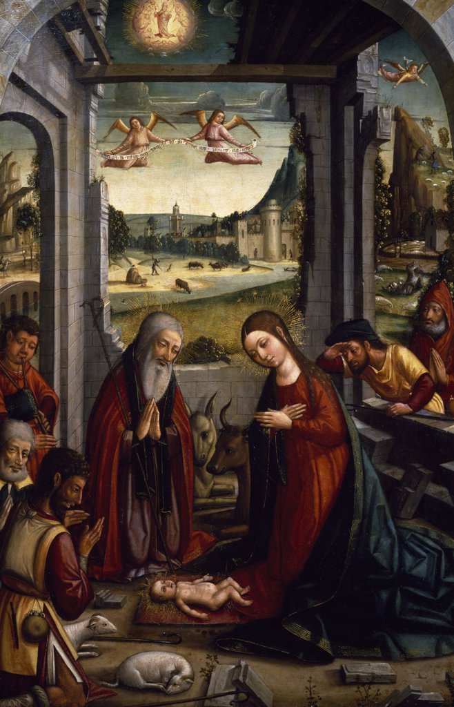 Stock Photo: 1158-2654 The Nativity by Master of Jativa,  (15th-16th century),  Spain,  Madrid,  Private Collection
