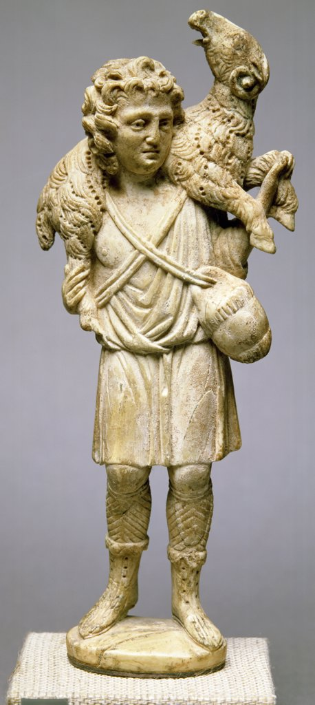 Christ as the Good Shepherd by Italian unknown artist, Ivory : Stock Photo