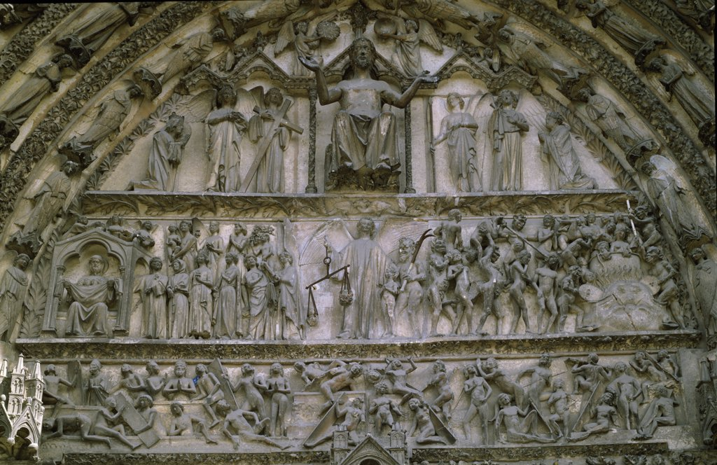 Stock Photo: 1158-2670 France, Centre, Bourges, Cathedral of Bourges, The Last Judgment by unknown artist
