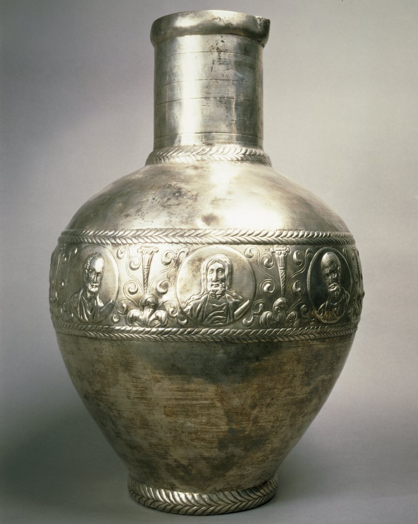 Stock Photo: 1158-2680 France, Paris, Musee Du Louvre, Silver vase from Syria, 6th century