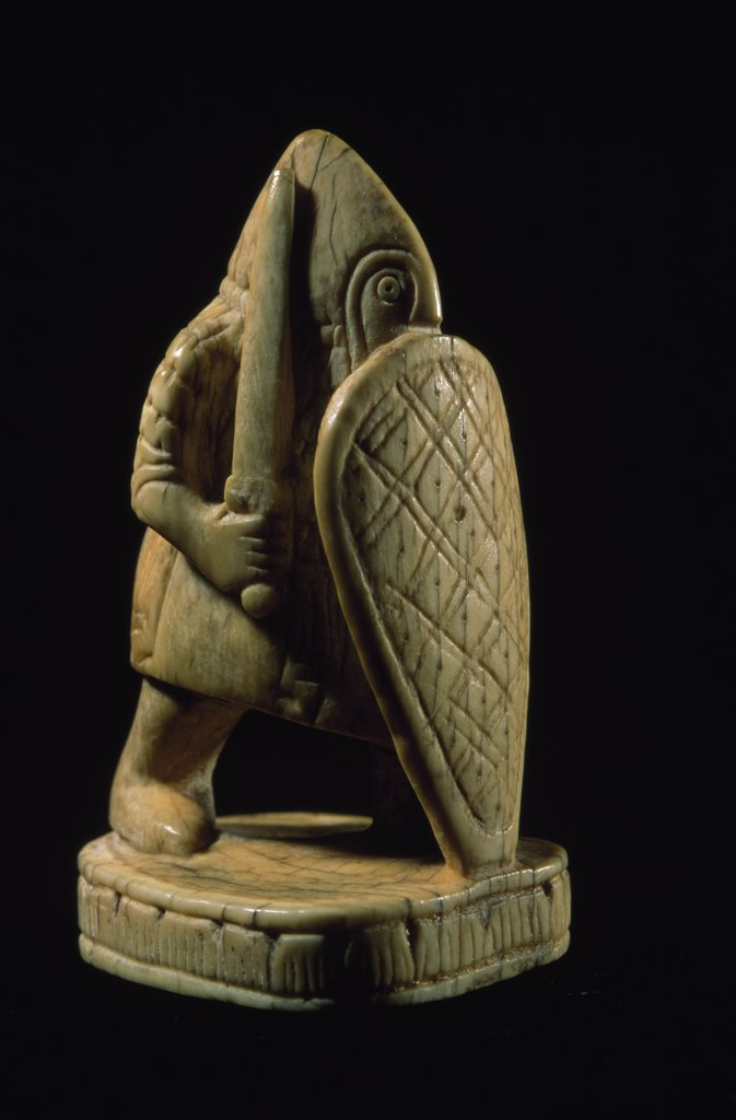 France, Paris, Bibliotheque Nationale, Statuette of warrior by unknown artist, ivory, 10th century : Stock Photo
