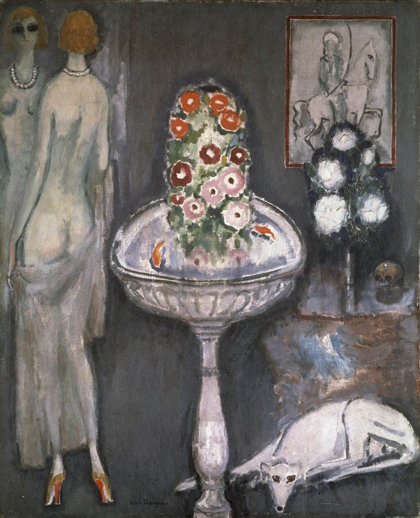 Stock Photo: 1158-2693 Nude With Vase And Flowers by Kees van Dongen, 1917, 1877-1968, France, Paris, Centre Georges Pompidou, Musee National d'Art Moderne