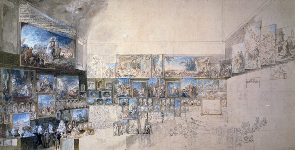 Stock Photo: 1158-2699 France, Paris, Musee Du Louvre, View of the Salon of 1765 by unknown artist