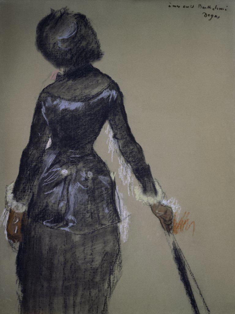 Stock Photo: 1158-814 Mary Cassatt at the Louvre  Edgar Degas (1834-1917/French) Pastel McIlhenny Collection, Philadelphia