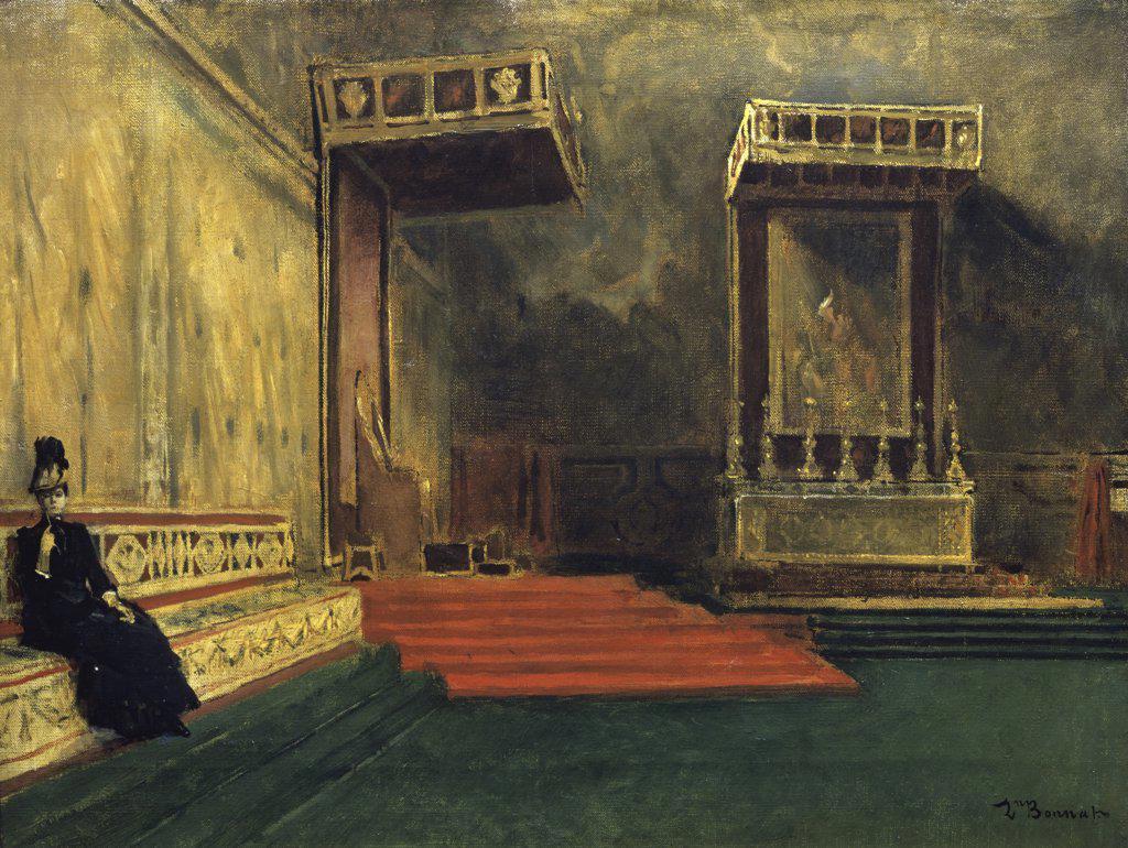 Interior of the Sistine Chapel  (Interieur de la Chapelle Sistine) Leon Joseph Florentin Bonnat (1834-1922/French)  Musee du Louvre, Paris   : Stock Photo