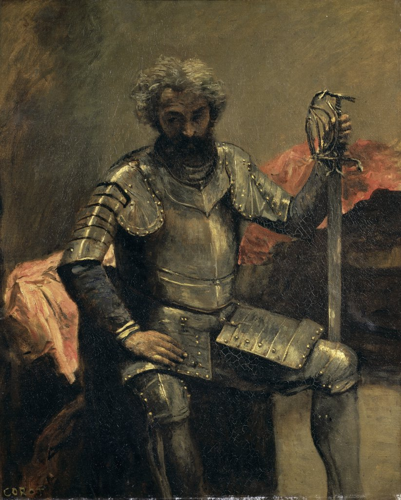 Stock Photo: 1158-886 Seated Man in Armor 