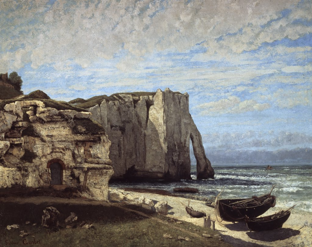 Stock Photo: 1158-894 Falaises d'Etretat Apres l'Orage The Cliffs Of Etretat After A Storm 1870 Gustave Courbet (1819-1877 French) Musee d'Orsay, Paris, France