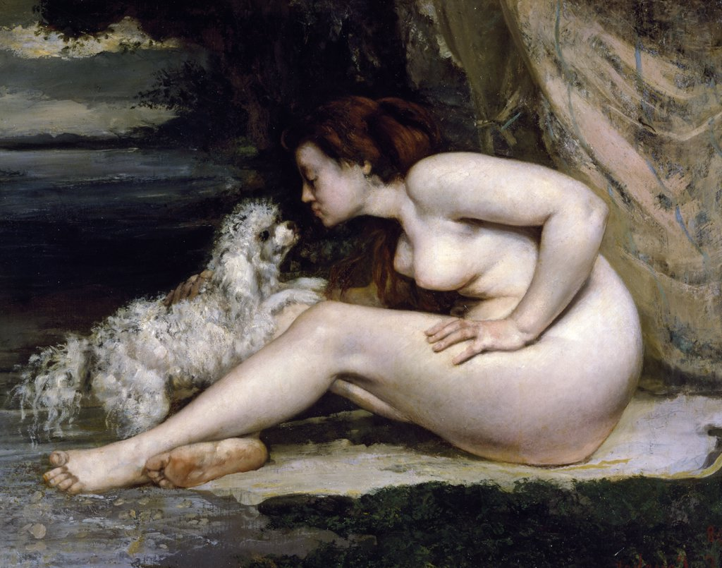 Stock Photo: 1158-897 Woman with a Dog by Gustave Courbet, (1819-1877), France, Paris, Musee d'Orsay