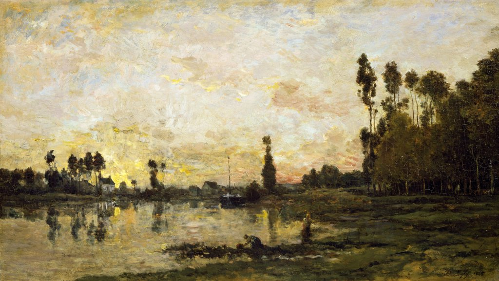 Stock Photo: 1158-901 Sunset in Oise by Charles Francois Daubigny, (1817-1878), France, Paris, Musee du Louvre