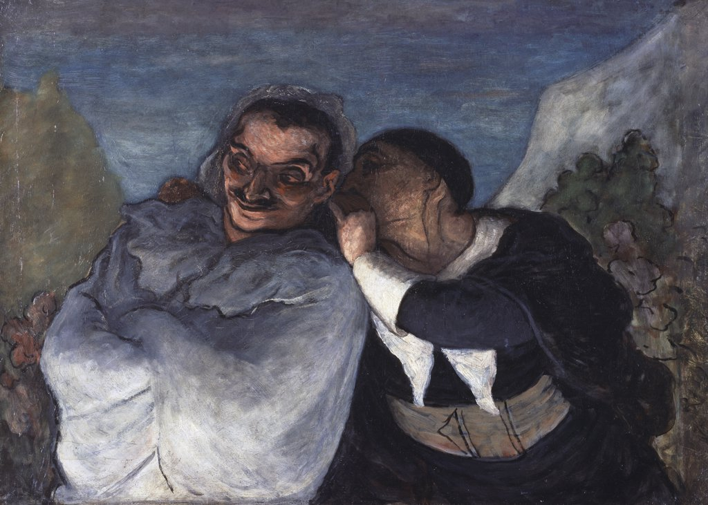 Crispin Et Scapin 1860 Honore Daumier (1808-1879 French) Musee d'Orsay, Paris, France : Stock Photo