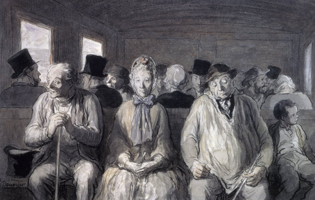 Stock Photo: 1158-907 Switzerland, Zurich, The Third Class Carriage by Honore Daumier, watercolor, (1808-1879)