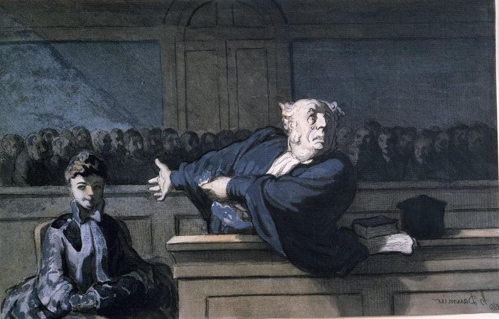 Stock Photo: 1158-909 Scene at Court by Honore Daumier, (1808-1879)