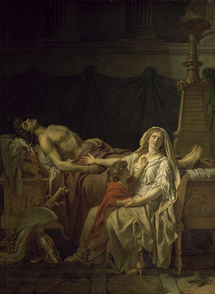 Stock Photo: 1158-919 The Suffering of Andromache  (La douleur d' Andromaque) 1783  Jacques-Louis David (1748-1825/French)  Musee du Louvre, Paris