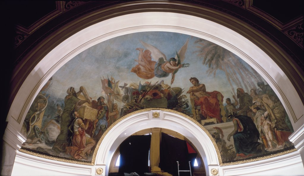 Stock Photo: 1158-941 France, Paris, Palais Du Luxembourg, French Senate Library, ceiling fresco by Eugene Delacroix, (1798-1863)