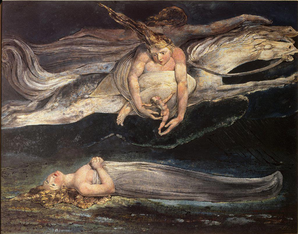 Stock Photo: 1158-997 Divine Comedy:  Pity 19th C.  William Blake (1757-1827/British) Tate Gallery, London