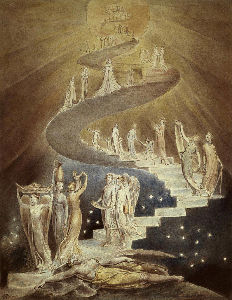 Stock Photo: 1158-998 Jacob's Ladder 1800-03 William Blake (1757-1827/British) British Museum, London
