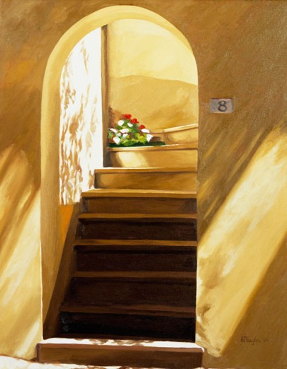 Arched Doorway 2002 Helen J. Vaughn (20th C. American) Oil On Canvas Private Collection : Stock Photo