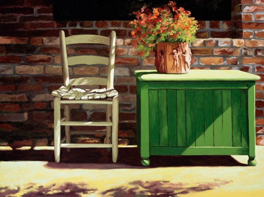 Stock Photo: 1162-76620 Chair On Sally's Patio 2003 Helen J. Vaughn (20th C. American) Oil On Canvas Private Collection