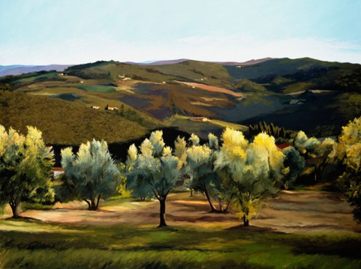 Olive Grove In Italy 2002 Helen J. Vaughn (20th C. American) Oil On Canvas Private Collection : Stock Photo