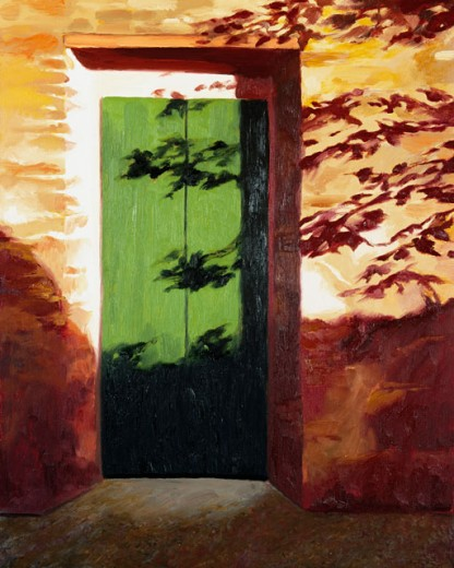 Stock Photo: 1162-76627 Green Door 2002 Helen J. Vaughn (20th C. American) Oil On Board Private Collection