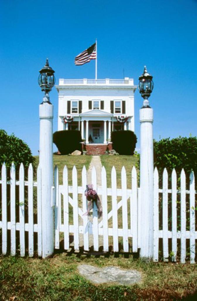 Facade of a building, Block Island, Rhode Island, USA : Stock Photo