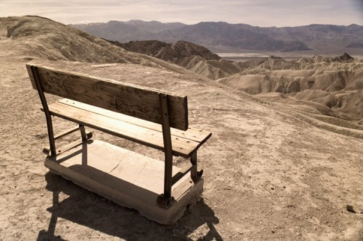 High angle view of an empty bench in a field, Death Valley National Park, California, USA : Stock Photo