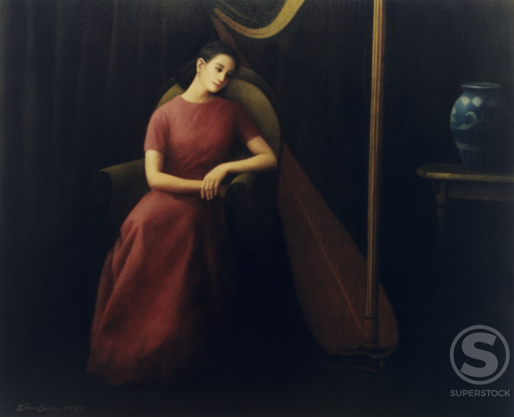 Stock Photo: 1173-665437 Beauty in Silence 1996 Zifen Qian (20th C. Chinese) Oil on canvas