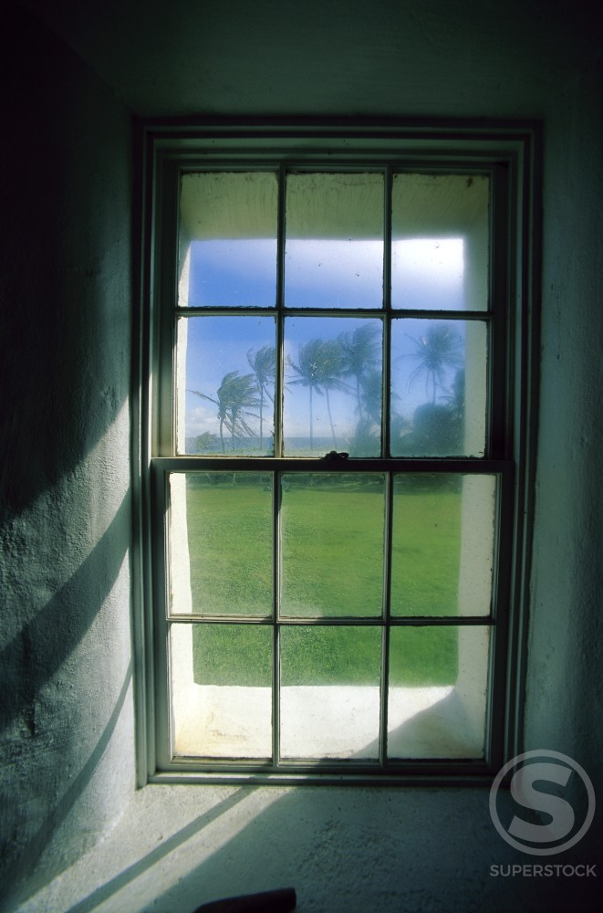 Stock Photo: 1176-150A Close-up of a window, Kaupo, Maui, Hawaii, USA