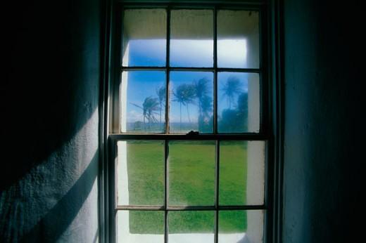 Close-up of a window, Kaupo, Maui, Hawaii, USA : Stock Photo