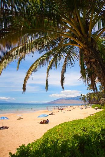 Stock Photo: 1176-1889 USA, Hawaii, Hawaiian Islands, Maui, Wailea, Keawakapu  Beach