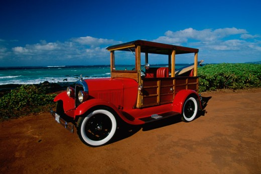 Close-up of a vintage car on the beach, Ford Woody, 1929 : Stock Photo